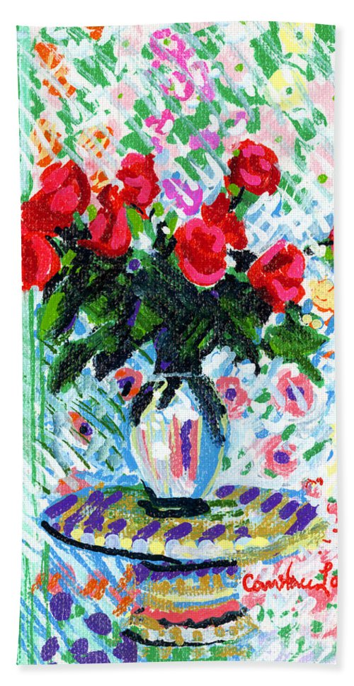 Red Roses Bath Sheet featuring the painting Red Roses In Water by Candace Lovely