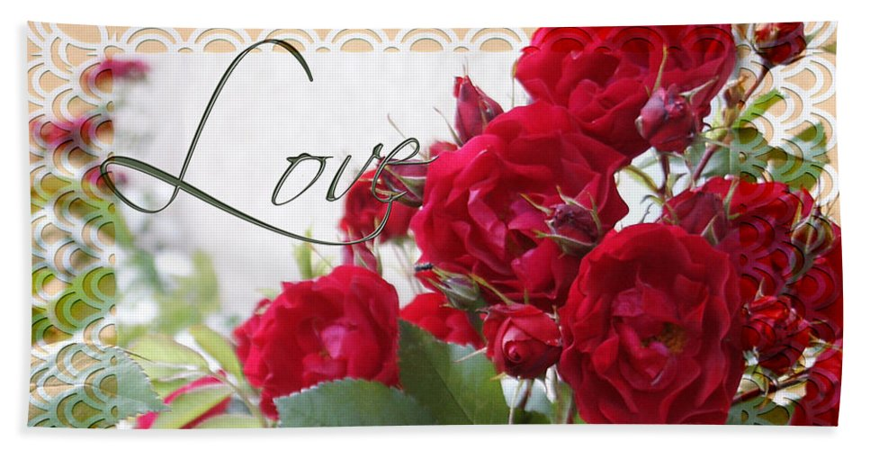 Love Hand Towel featuring the photograph Red Roses Love And Lace by Sandra Foster