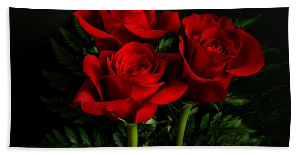 Flowers Hand Towel featuring the photograph Red Roses by Sandy Keeton
