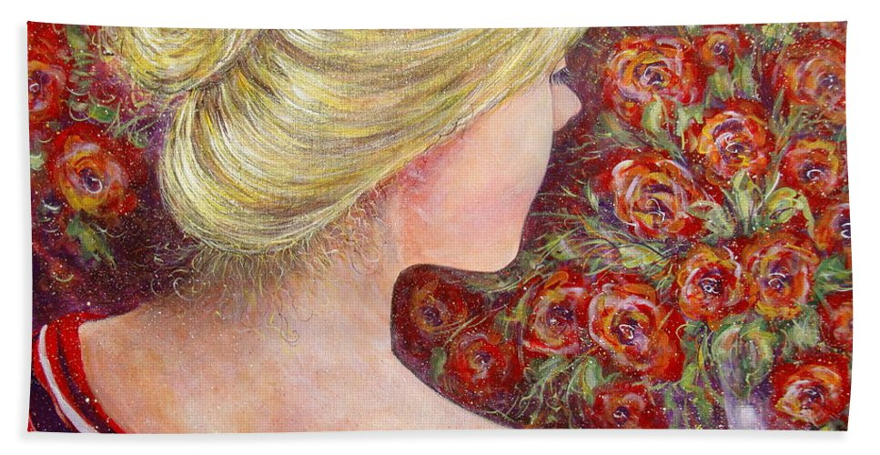 Female Bath Towel featuring the painting Red Scented Roses by Natalie Holland