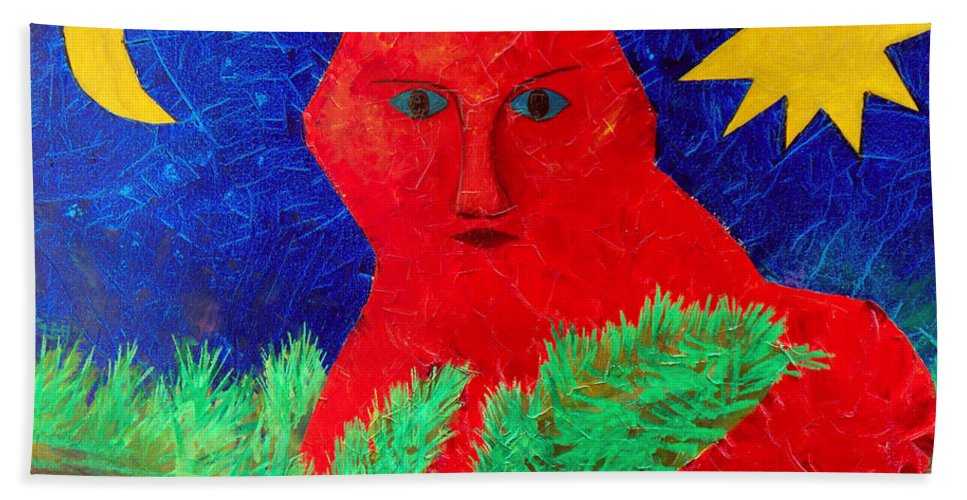 Fantasy Bath Towel featuring the painting Red by Sergey Bezhinets