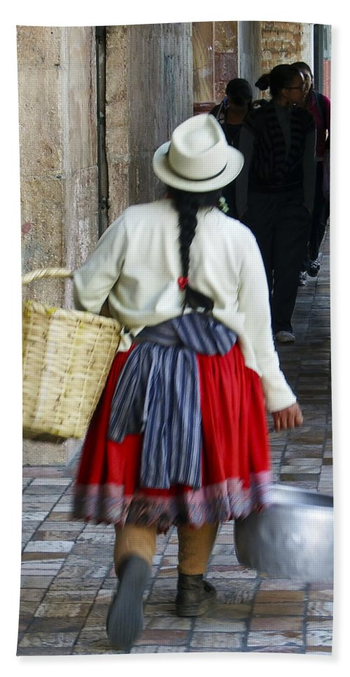 Cuenca Bath Sheet featuring the photograph Red Skirted Woman Of Cuenca by Kurt Van Wagner