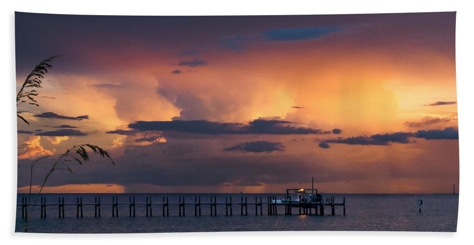 Sunset Hand Towel featuring the photograph Red Skies At Night by Norman Johnson
