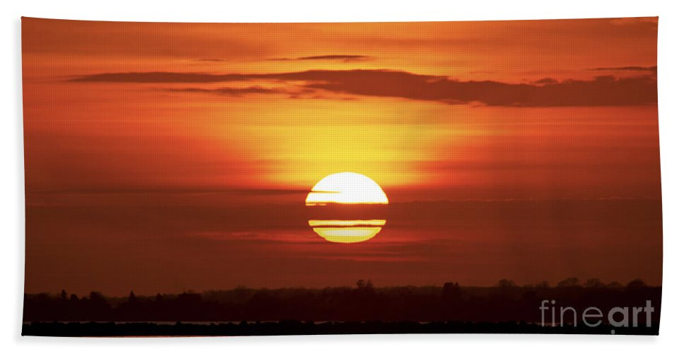 Sunset Bath Sheet featuring the photograph Red Skies by Joe Geraci