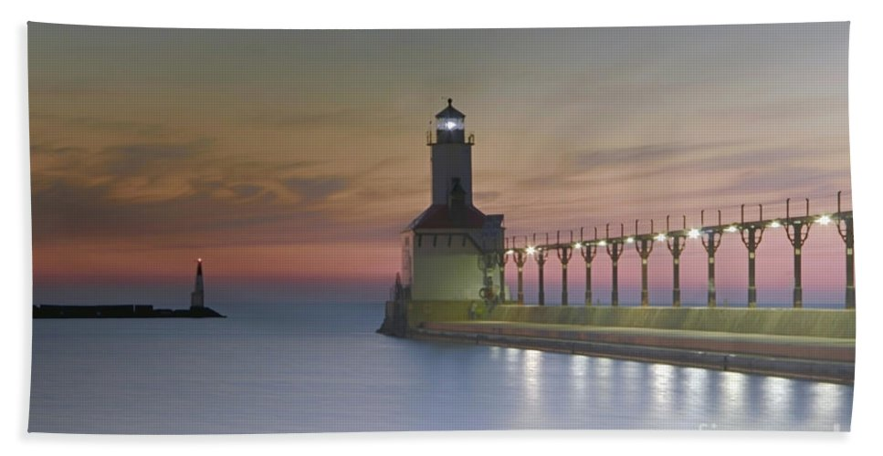 Lake Michigan Hand Towel featuring the photograph Red Sky At Night by Michael J Samuels