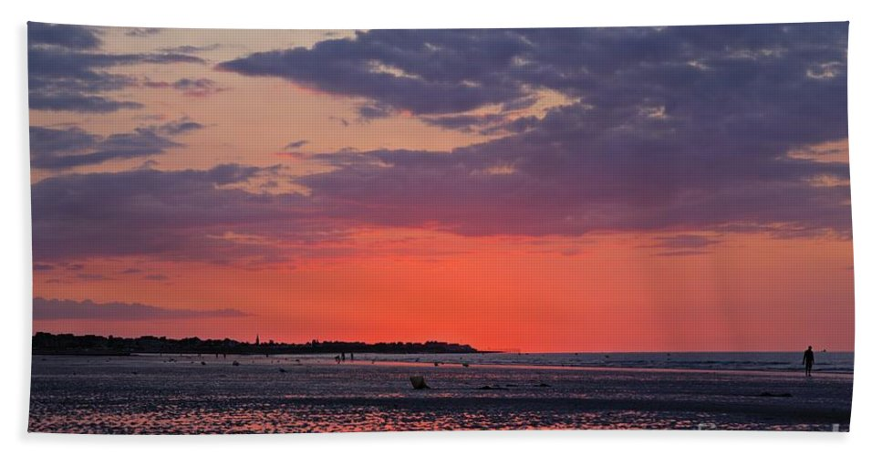 Red Sky Bath Sheet featuring the photograph Red Sky At Sword Beach by James Anderson