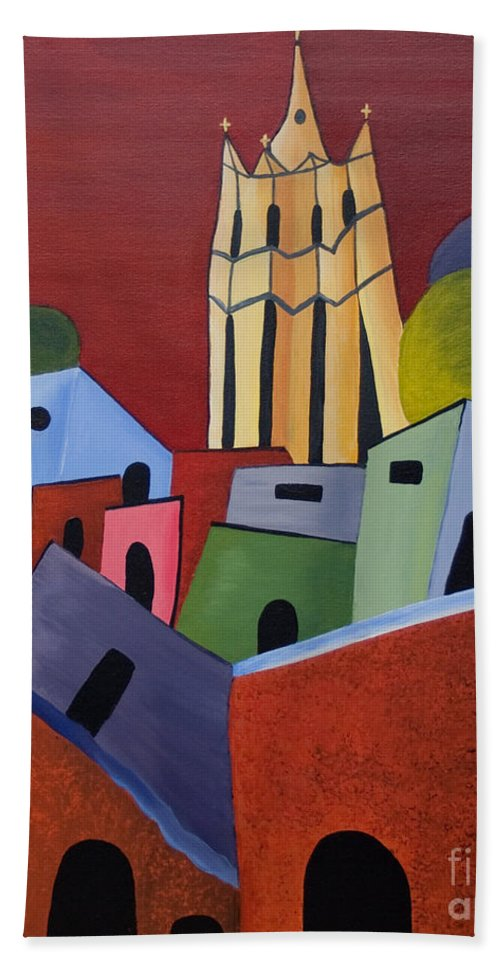 San Miguel De Allende Bath Sheet featuring the painting Red Sky In San Miguelle De Allende by Barbara McMahon