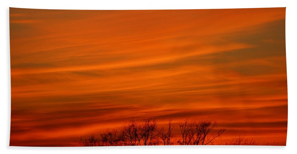 Sunset Hand Towel featuring the photograph Red Sky by Jeffery L Bowers