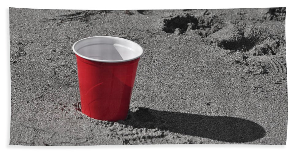 Red Solo Cup Hand Towel featuring the mixed media Red Solo Cup by Trish Tritz
