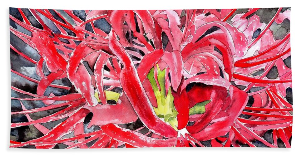 Watercolor Bath Sheet featuring the painting Red Spider Lily Flower Painting by Derek Mccrea