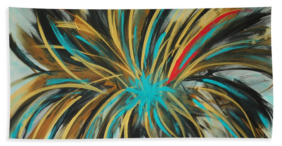 Andy Hand Towel featuring the painting Red Streak by Paulette B Wright