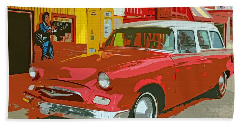 Red Bath Sheet featuring the photograph Red Studebaker by Lynn Sprowl