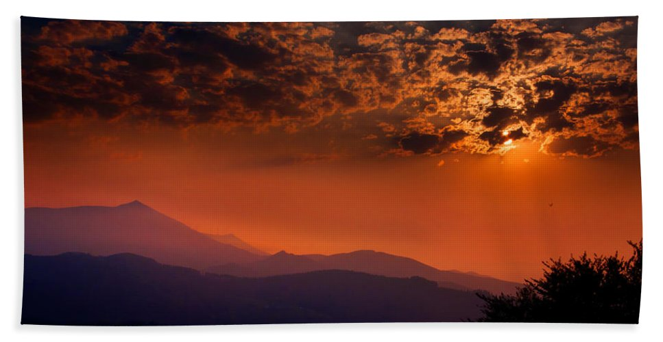 Red Bath Sheet featuring the photograph Red Sumer Sunset by Weston Westmoreland