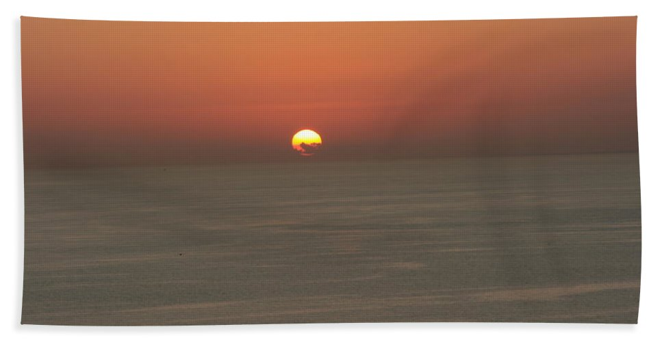 Red Sunset Over Sea Hand Towel featuring the photograph Red Sunset Over Sea by Gordon Auld
