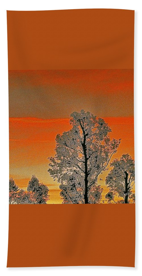 Silhouette Bath Sheet featuring the photograph Red Sunset With Trees by Ben and Raisa Gertsberg