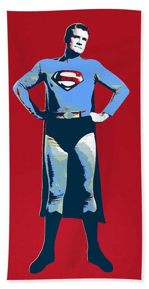 Pop Art Hand Towel featuring the mixed media Red Superman by Dominic Piperata