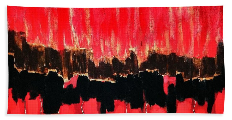 Red Thunder Clash Hand Towel featuring the painting Red Thunder Clash II by Saundra Myles