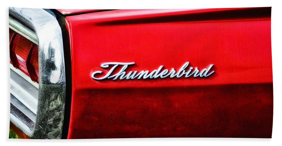 Red Thunderbird Hand Towel featuring the photograph Red Thunderbird by Bill Cannon