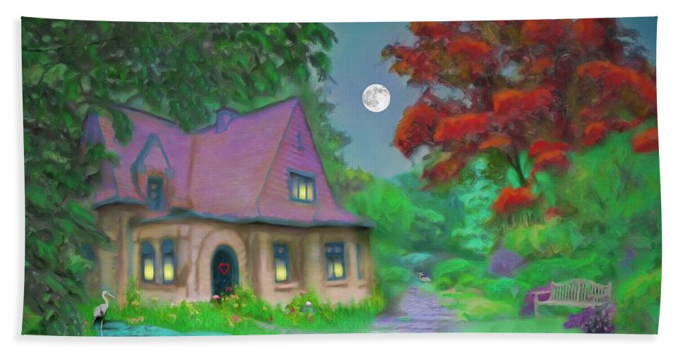 Trees Hand Towel featuring the painting Red Tree Cottage At Dusk by Susanna Katherine