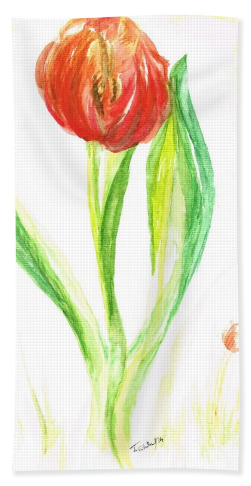Teresa White Hand Towel featuring the painting Red Tulip -of Amsterdam  by Teresa White