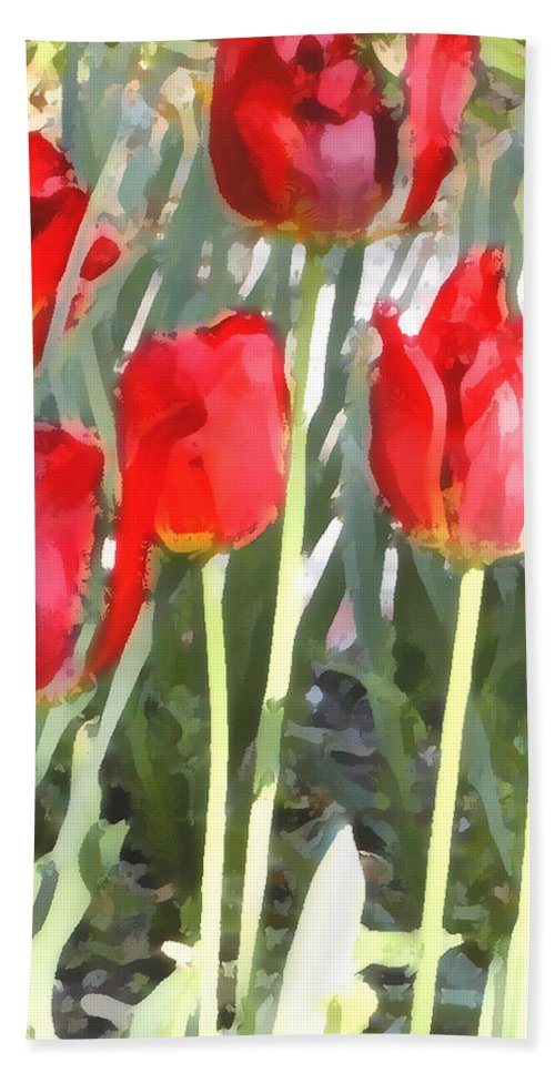 Red Tulips Hand Towel featuring the photograph Red Tulips by Jeanne A Martin