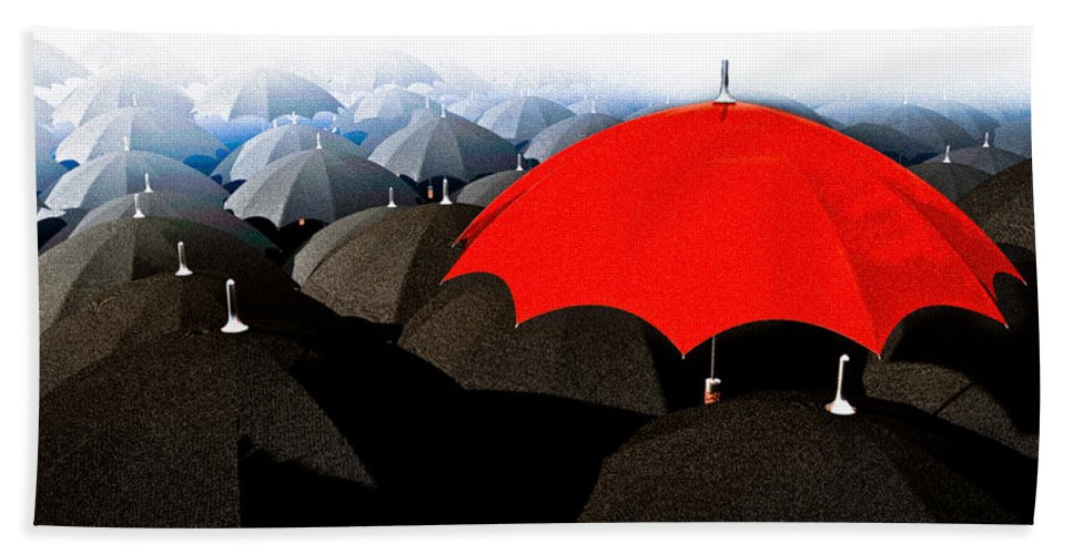 Umbrella Hand Towel featuring the digital art Red Umbrella In The City by Bob Orsillo