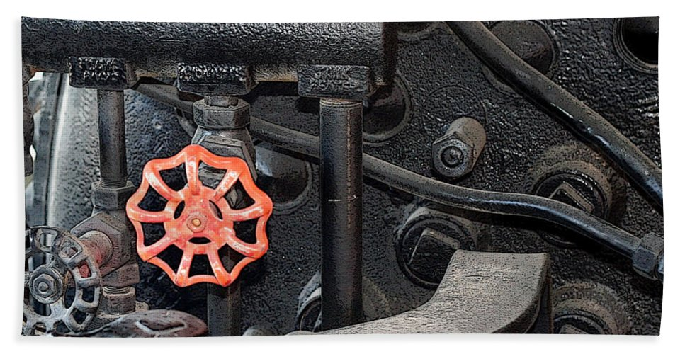Railroad Hand Towel featuring the photograph Red Valve S P R R 1673 by Joe Kozlowski