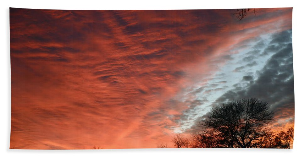 2d Bath Sheet featuring the photograph Red Velvet Sky by Brian Wallace