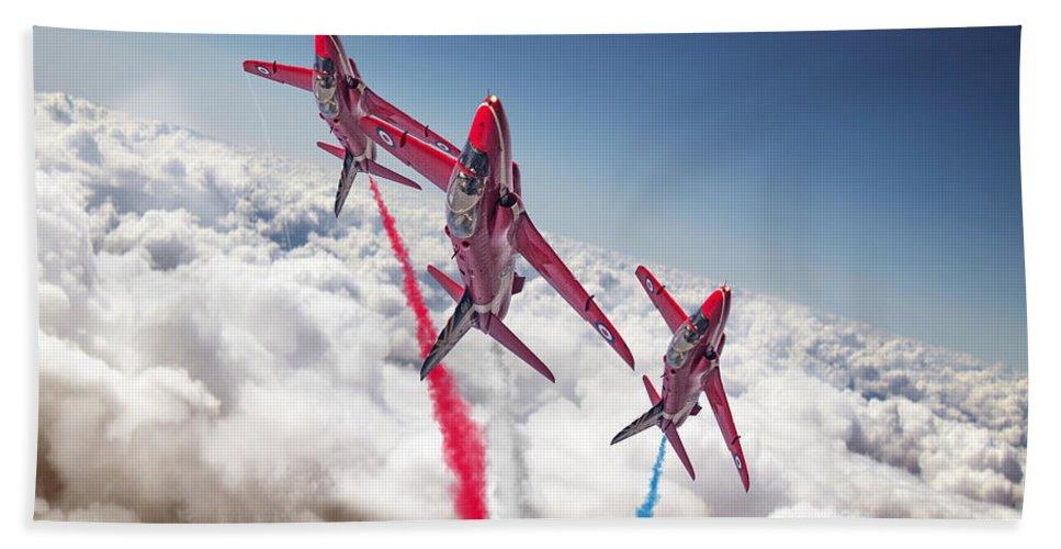 Red. Arrows Bath Sheet featuring the digital art Red White Blue by J Biggadike