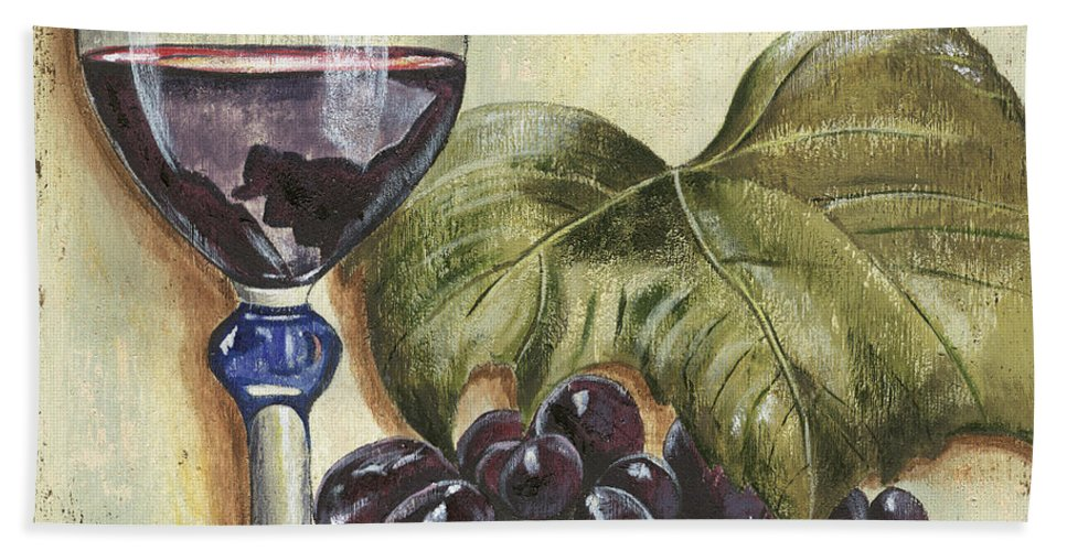 Wine Bath Sheet featuring the painting Red Wine And Grape Leaf by Debbie DeWitt