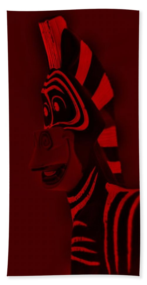 Zebra Bath Sheet featuring the photograph Red Zebra by Rob Hans