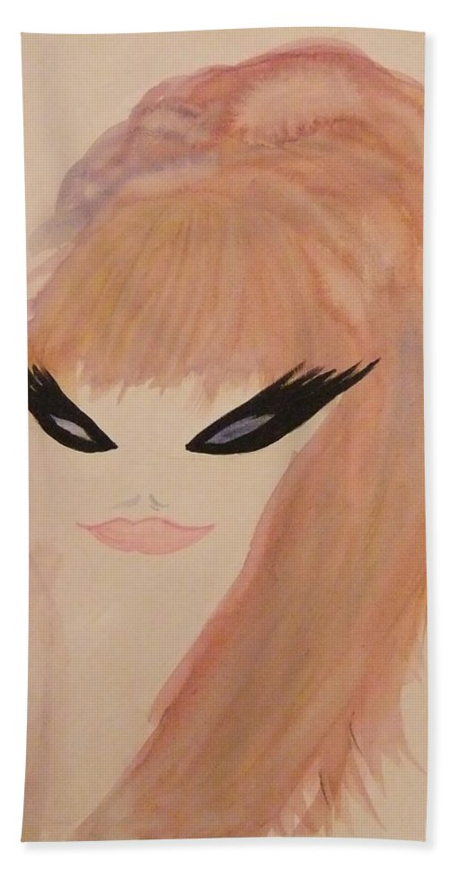 Woman Hand Towel featuring the painting Redhead Woman by Lynne McQueen