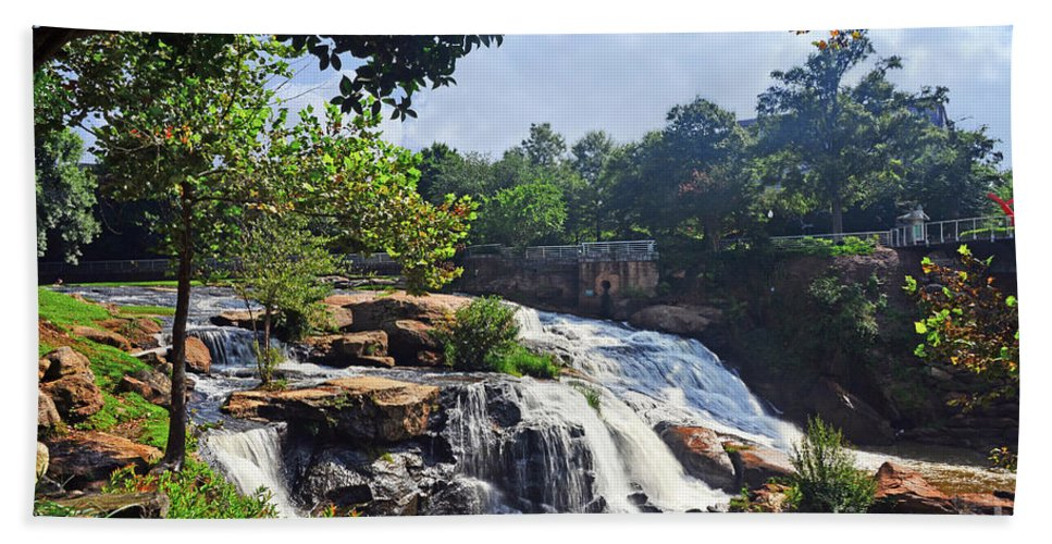 Nature Hand Towel featuring the photograph Reedy River Falls by Elvis Vaughn