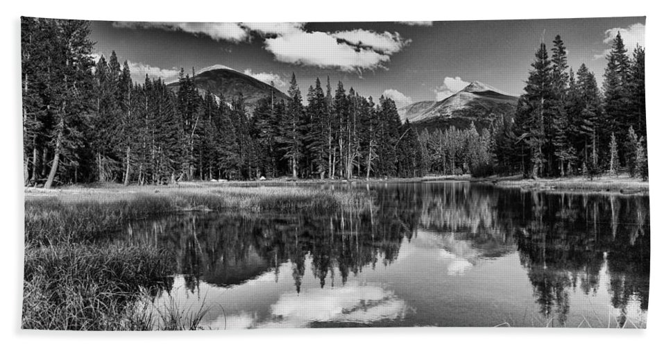 Water Reflection Pond Mountains Yosemite National Park Sierra Nevada Landscape Scenic Nature Black White California Bath Sheet featuring the photograph Reflecting Pond by Cat Connor
