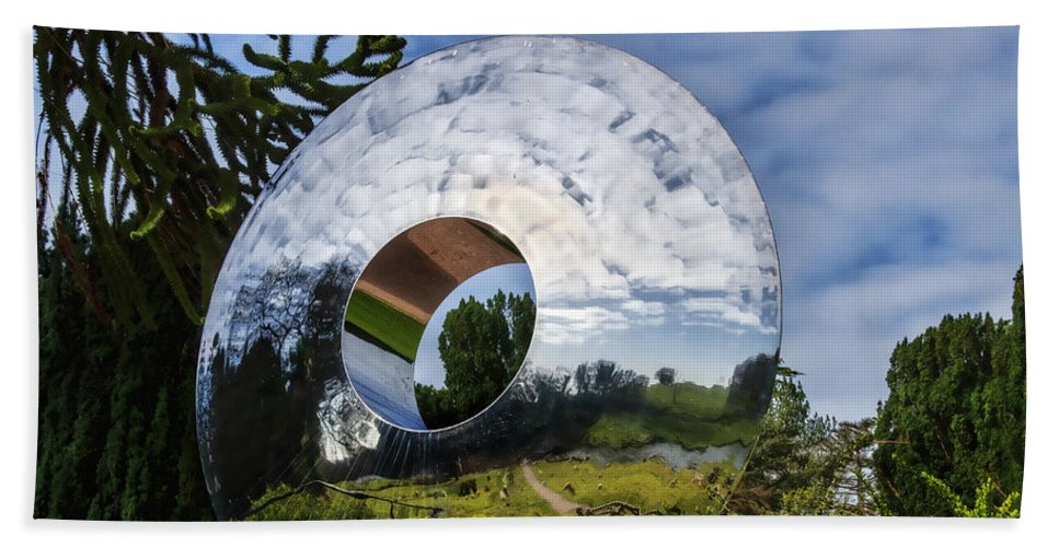 Sculpture Hand Towel featuring the photograph Reflecting The Countryside by Susie Peek