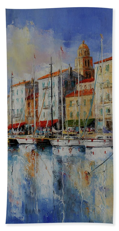 Seascapes Bath Sheet featuring the painting Reflection - St.tropez - France by Miroslav Stojkovic