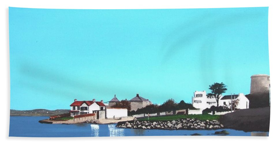 Sandycove Hand Towel featuring the painting Reflections At Sandycove by Tony Gunning