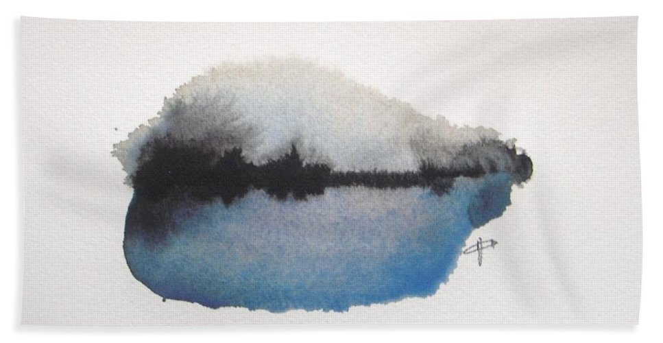 Abstract Bath Towel featuring the painting Reflection in the lake by Vesna Antic