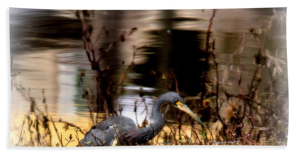 Tri Colored Heron Hand Towel featuring the photograph Reflection Of A Heron by Travis Truelove