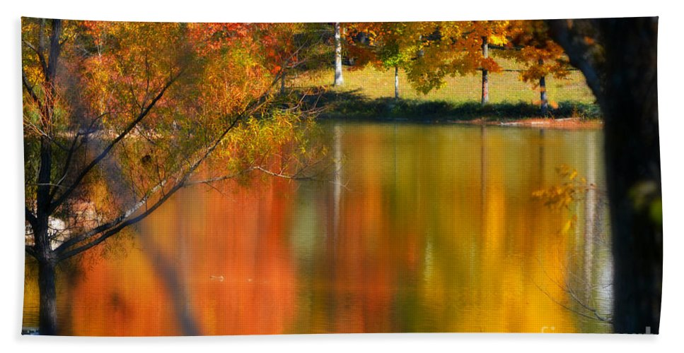 Autumn Hand Towel featuring the photograph Reflection Of My Thoughts Autumn Reflections by Peggy Franz
