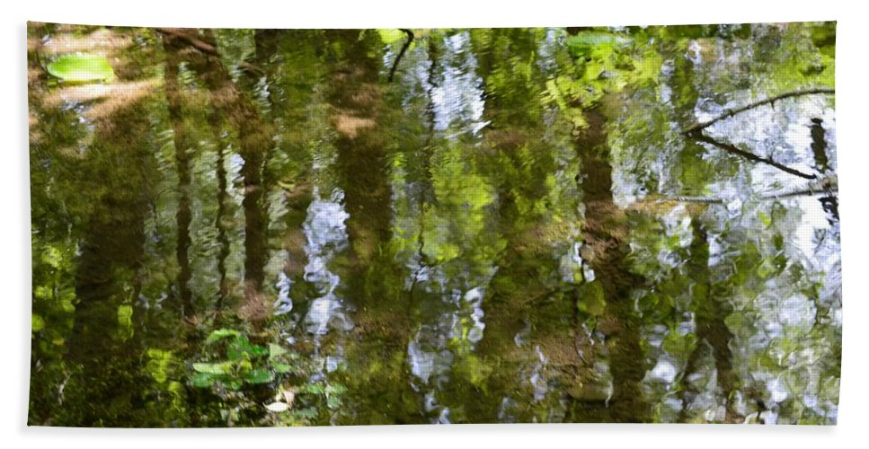 Nature Reflection Bath Sheet featuring the photograph Reflection Of Woods by Sonali Gangane