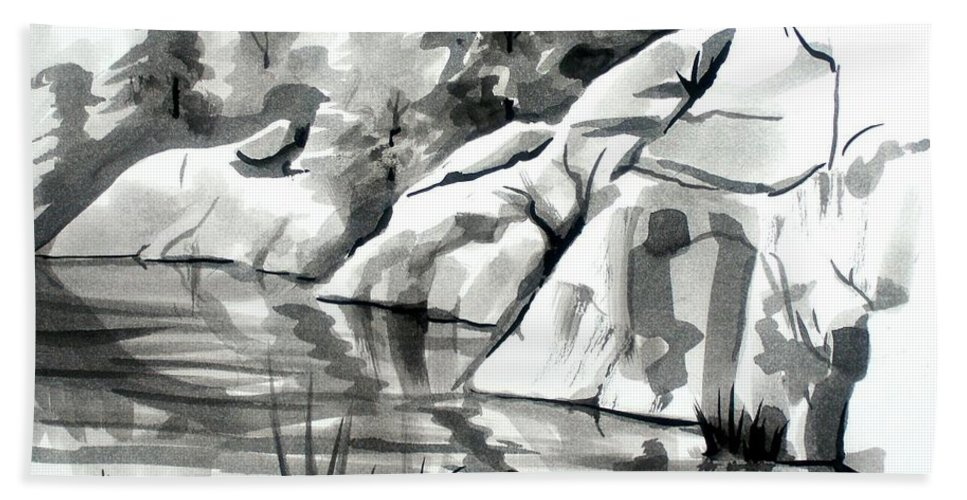 Reflections At Elephant Rocks State Park No I102 Bath Sheet featuring the painting Reflections At Elephant Rocks State Park No I102 by Kip DeVore