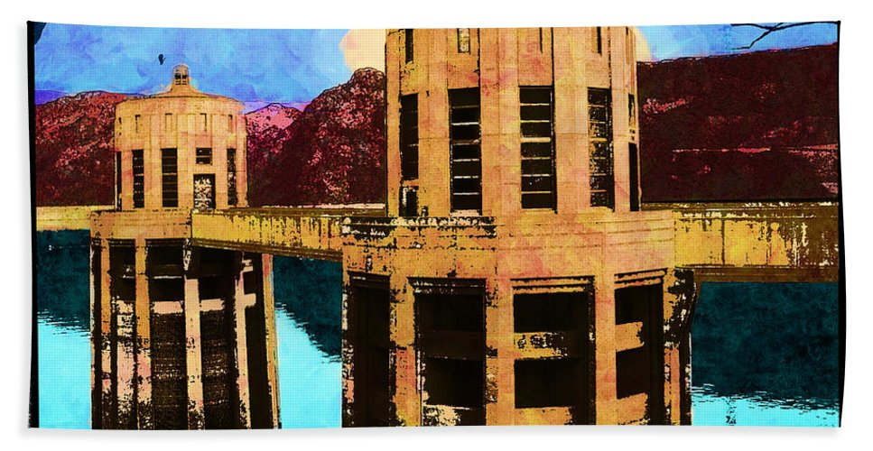 Mccarthy Art Hand Towel featuring the photograph Reflections At Hoover Dam by Glenn McCarthy Art and Photography