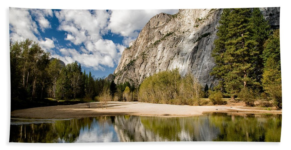 Landscape Reflection Clouds Water Yosemite national Park sierra Nevada Sky Mountains California Scenic Nature Clouds Day Trees Greem Bath Sheet featuring the photograph Reflections At Swinging Bridge by Cat Connor