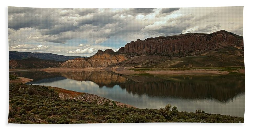 Curecanti Hand Towel featuring the photograph Reflections In Blue Mesa by Adam Jewell