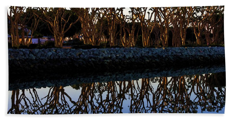 Trees Bath Sheet featuring the photograph Reflections In First Light by Gary Holmes