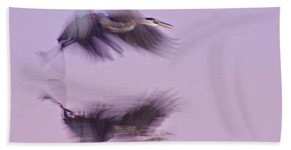 Nature Bath Sheet featuring the photograph Reflections In Flight by Dan Ferrin