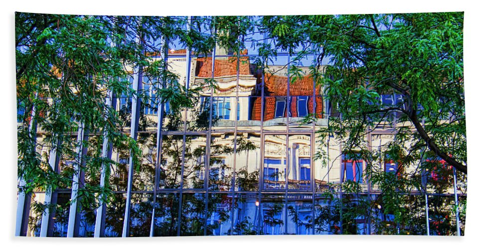 Reflections In The City Bath Sheet featuring the photograph Reflections In The City by Mariola Bitner