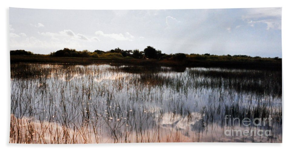 Reflections Hand Towel featuring the photograph Reflections In The Everglades by Lydia Holly