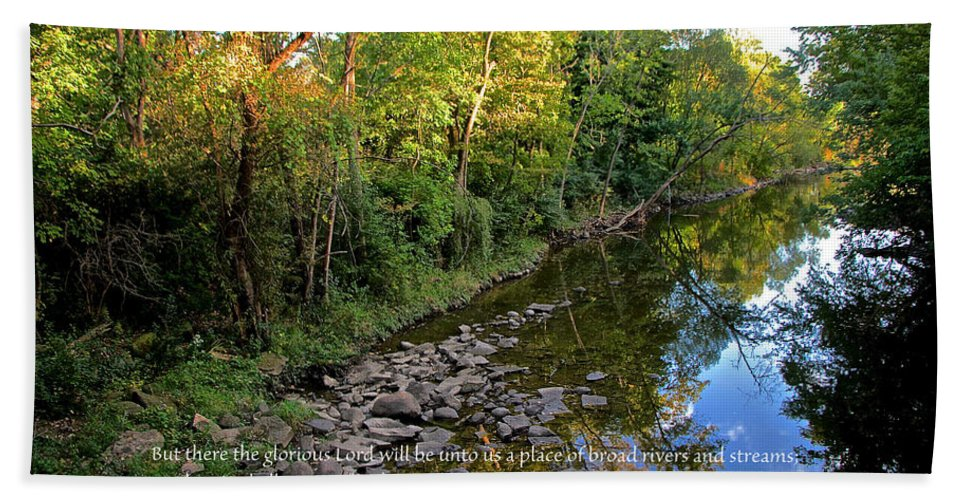 Stream Hand Towel featuring the photograph Reflections In The Stream by Debbie Nobile